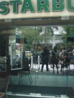 Starbucks coffee shop at IT Park Lahug Cebu City. Closed in the middle of the day.
